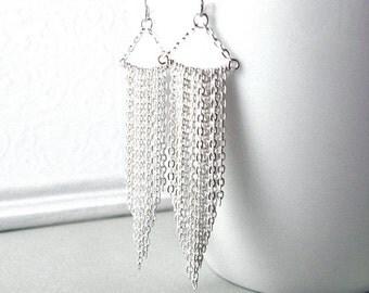 Sterling Silver Earrings, Silver Fringe Earrings, 25th Anniversary Gift