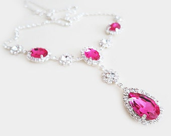 Pink Crystal Necklace, Wedding Necklace Bridal Jewelry, Bridesmaid Necklace Set of 5, Pink Drop, Pearls, Rhinestone, Vintage, Fuchsia, Gift