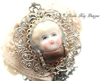 Cameo Brooch Frozen Charlotte China Doll Head Rhinestones Pin One-of-a-Kind Mixed Media Broach