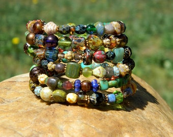 Czech Bead Boho Bangle