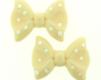 20 pieces - Ribbon Bow Resin Flatback in White