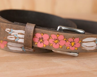 Leather Belt - Handmade Womens Skinny Belt with Flowers - Dakota pattern with Bohemian style - Pink and antique black