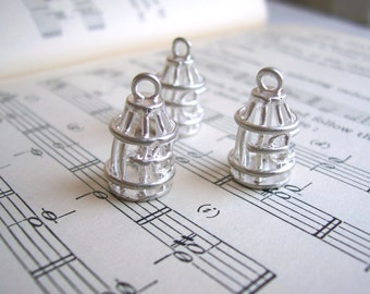 Small Silver Birdcage charms - rhodium plated - 15mm - 20 pieces