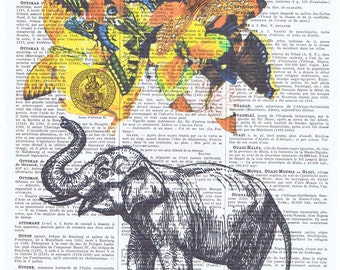 Elephant.Butterfly.African Animal.Book page print.Vintage.home deco,antique,french.buy 3 get 1 FREE.child.wall.eco.nursery.pretty picture