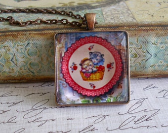 Valentine Kittens, altered art pendants, gift boxed,Valentine's Day gifts, Valentine jewelry, love, romance,  gifts for valentines, retro