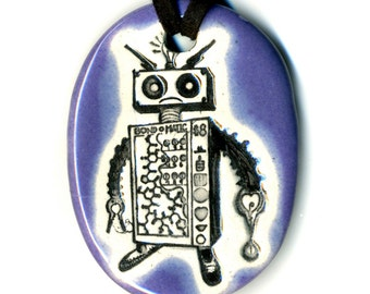 Robot Ceramic Necklace in Purple