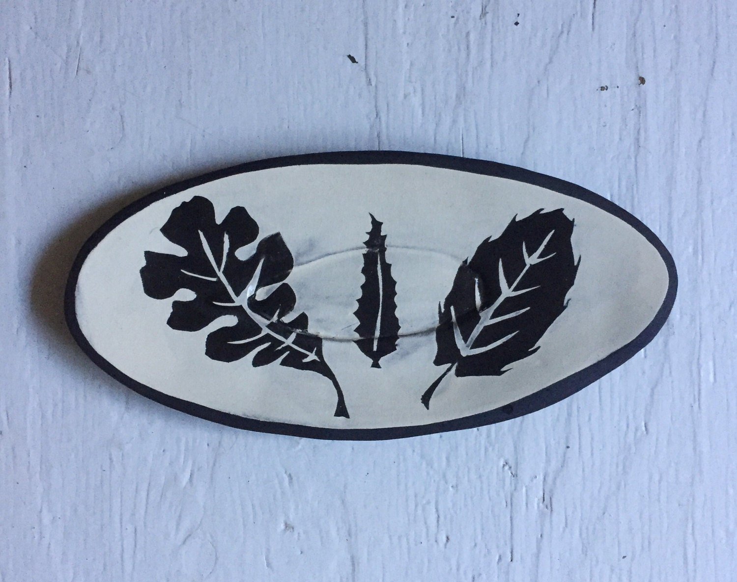 Medium California Oak Leaves Ceramic Oval Platter