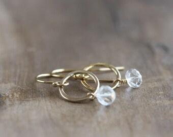 White topaz earrings - hammered gold hoop earrings - white topaz gemstones - April birthstone - topaz jewelry - gemstone earrings