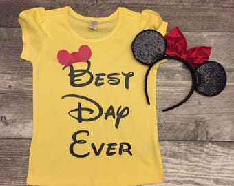 Disney Mickey Best Day Ever S/S Girls T shirt Reveal Surprise Gray Black Red Yellow Sibling set Ears