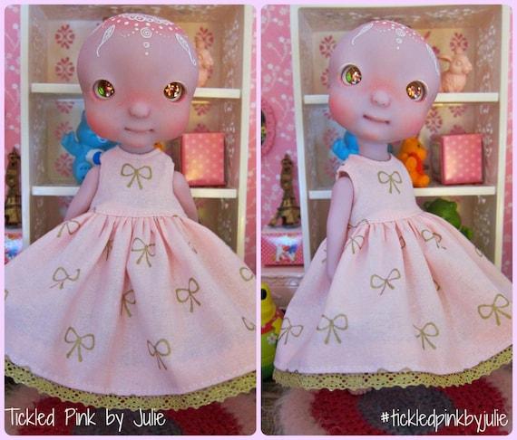 Cerise Tiny BJD Babydoll Bow dress by Tickled Pink by Julie