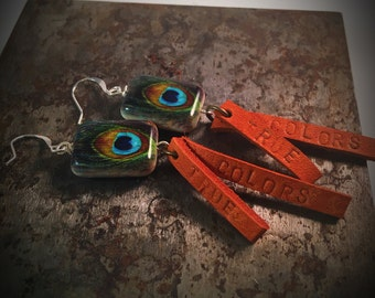 leather earrings peacock feathers