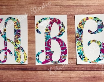 Single Letter Initial Monogram Decal ~ pretty font, any letter patterned vinyl, print, size choice! permanent sticker, tumbler, car decal