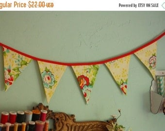 Entire Shop On SALE Floral Fabric Bunting, Flag Prop Decoration in Yellow and Red, Prop, Pennants.  Ready To Ship.