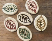 FREE SHIPPING Set of 6 Handmade Ceramic Buttons - Leaves