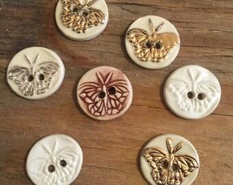 FREE SHIPPING Set of 7 Handmade Ceramic Buttons - Butterflies