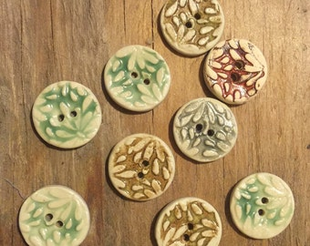 FREE SHIPPING Set of 9 Handmade Mini Ceramic Buttons - Floral