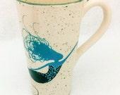 Mermaid Tall Mug. Mug. 16 ounces. Coffee. Home Decor. Kitchen. Housewarming. African American Mermaid. Caucasian. Mermaid with Turtle