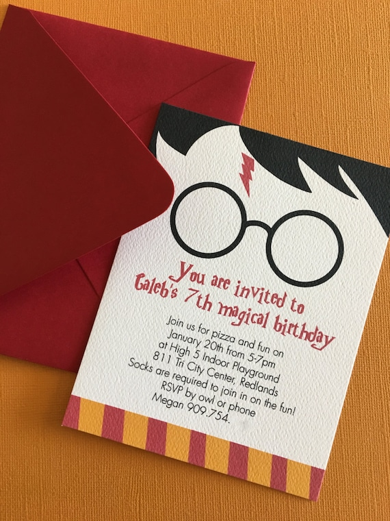 Harry Potter birthday invitation Gryffindor harry potter – Harry Potter Birthday Invitation