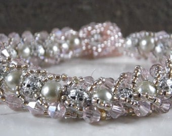 pink crystal pearl and filligree flat spiral bead woven bracelet