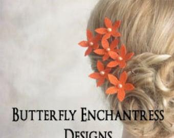 Rustic Bridal Hair Flowers, Burlap Wedding Hair Piece, Flower Hair Accessory, Bridesmaid Favor Gift - 6 Orange Burlap Stephanotis Hair Pins