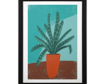 Botanical Still Life Bromeliad Plant in Orange Pot Print on Paper or Canvas