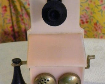Vintage Wall Phone Salt and Pepper Shaker Set Pink Black and Gold