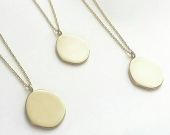 Minimalist Golden Drop Amulet Necklace. Sterling Silver or Brushed Golden Amulet Neckpiece.