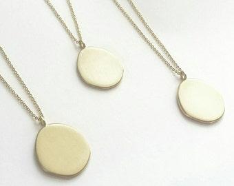 Minimalist Golden Drop Amulet Necklace. Sterling Silver or Brushed Golden Amulet Neckpiece.