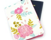 Pink Gold Mint Beautiful Floral Passport Holder, Passport Cover, Passport Wallet, Passport Case, Travel Gift