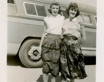 vintage photo 1950s Snapshot Pretty Young Ladies Skirts Bus Ride Square Mid Century