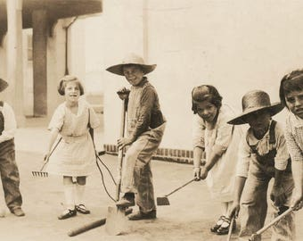 vintage photo Working Children Garden Tools Rake Hoe Occupational Kids