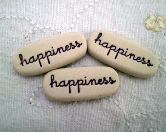 3 Happiness Inspirational Stones, Care Package Gift, Message Rock, Wedding Favor, Pocket Saying