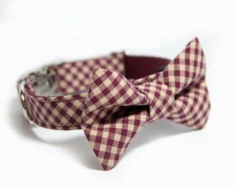 Bow tie Dog Collar, Personalized Bow Tie Collar option, Maroon Bias Check Dog Collar