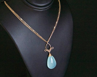 Pamela - Aqua Blue Chalcedony and 14k Gold Filled Necklace