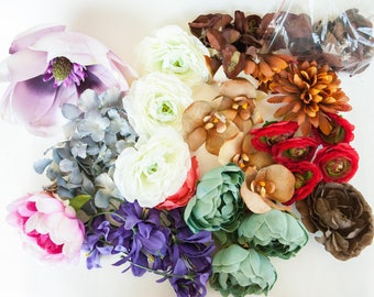 GRAB BAG #10 - Over 40 Mini to Extra Large Size Flowers in Mixed Colors - Silk Artificial Flowers