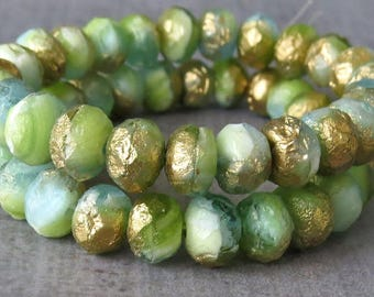 Olive Aqua Gold Etched Sea Glass Mix Bead Faceted 8x6mm Rondelle Mix : 10 pc Gold Matte Beach Glass Bead Mix