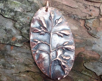 Large Copper Flower Pendant, Wildflower Focal Pendant, Flower Reproduction, Gift for Her, Summer Jewelry, Nature Lover Gift