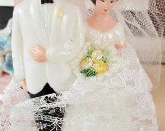 Vintage / Wedding Cake Topper / Bride & Groom / Bridal Shower Cake Decoration / Double Applique Bouquet / White Tuxedo Jacket / Black Pants