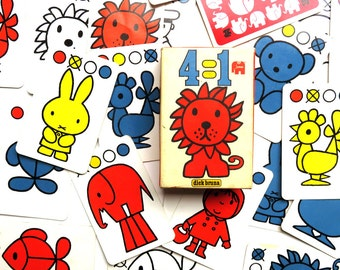 Vintage 1970s Dick Bruna Miffy Go Fish Card Game - Complete Dutch 70s Jumbo Kwartet Flash Cards Toy w Box 4 = 1