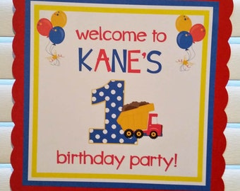 DUMP TRUCK Door Sign / Truck Door Sign / Truck Welcome Sign / Truck Party Sign / Dump Truck Birthday / Construction Door Sign/Truck Birthday