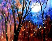Merry Xmas and Happy 2017 Photo Print -  Harvest moon and Fireflys -   8 x 10 - BUY 2 get 1 FREE