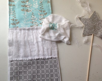 "Newborn Baby Girl Gift set. Aqua / gray / lace burp cloth and coordinating ""coming home"" lace hat. In stock. ready to ship."