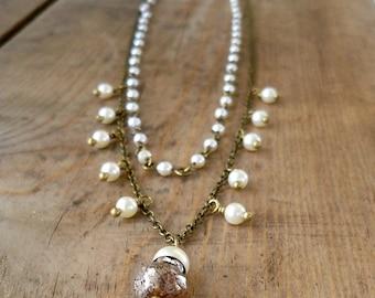 Boho Jewelry - Rustic Wedding - Multi Strand Necklace - Ivory Swarovski Pearl Necklace - Ivory Pearl Necklace - Layering Necklace