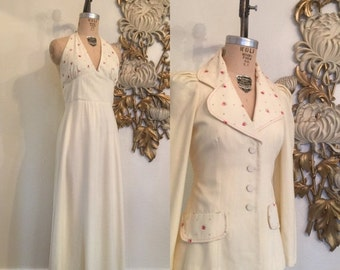 1970s dress set dress and jacket young edwardian size medium vintage dress maxi dress floral jacket