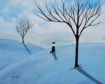 Border Collie Dog Snow Folk Art PRINT by Todd Young painting WINTER HILLS