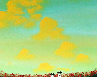 Smooth Fox Terrier Dog Folk Art print of Todd Young SPRING CLOUDS