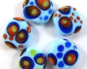 Handmade lampwork bead  glass, Lampwork beads. squeezed beads, dots, light blue (5) SRA