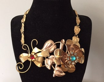 Collage Vintage Gold Flower Brooch Bib Necklace / Gold Leaves/ Upcycled Wire Wrapped Modern Necklace