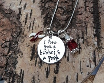 BY-5 Head & Neck Cancer Awareness Throat Cancer Bushel And A Peck Jewelry Oral Cancer Awareness I Love You Necklace Gift For Her