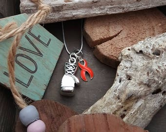 RO-2 Multiple Sclerosis Necklace Leukemia MS Awareness Rsd Jewelry Boxing Glove Charm
